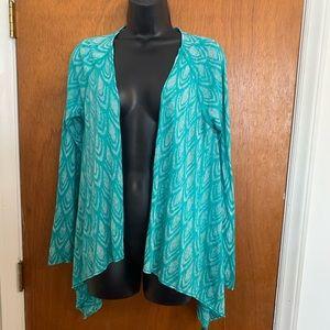 PrAna Green Medium Open Front Cardigan
